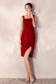 Little Red Short Party Dress Bodycon Fitted With Slit - HTX97059