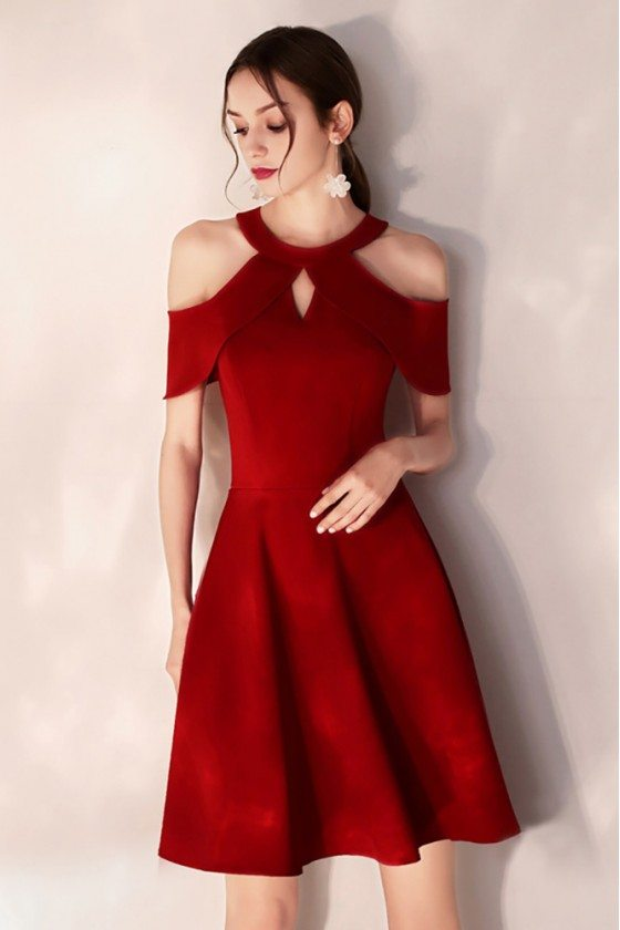 Simple Short Halter Burgundy Party Dress Semi Formal