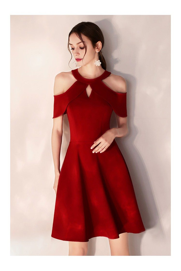 Simple Short Halter Burgundy Party Dress Semi Formal 55