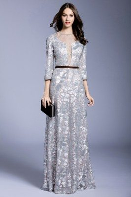 Silver Sequins 3/4 Sleeve Long Formal Dress