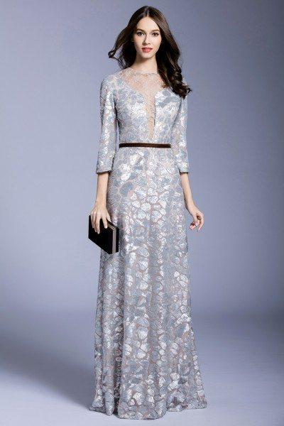 Silver Sequins 3/4 Sleeve Long Formal Dress