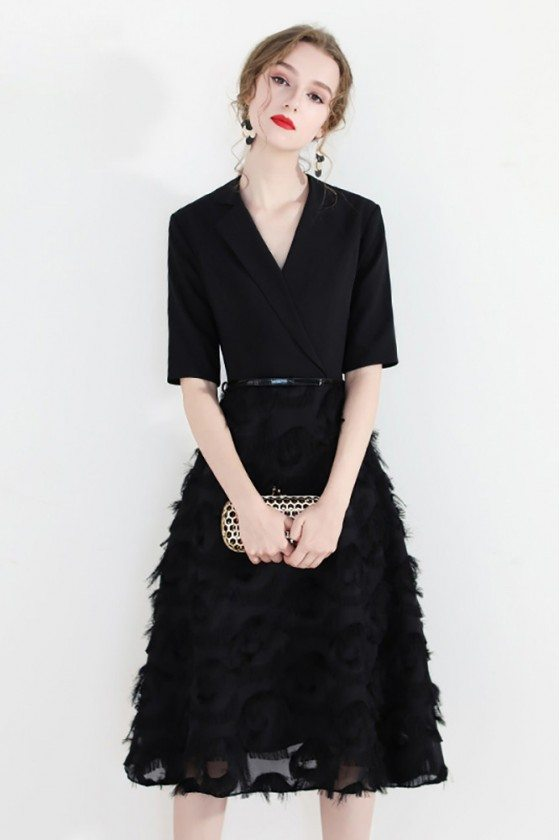 Black Chic Knee Length Party Dress With Sleeves Suit Collar