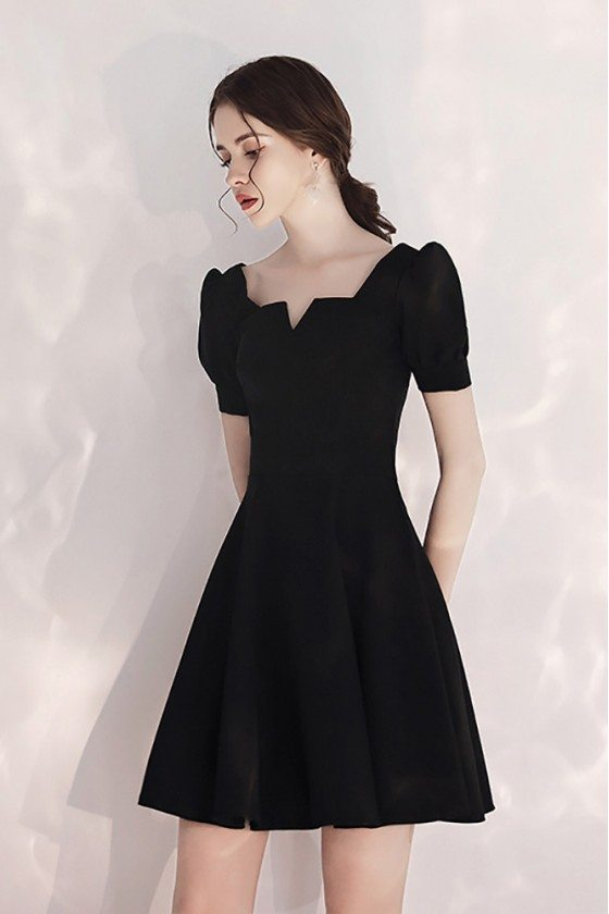 French Style Little Black Party Dress Short With Sleeves - HTX97083