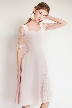Pretty Pink Lace Party Dress With Short Sleeves - HTX97052