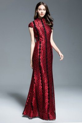 Exclusive Qipao Style High Neck Long Formal Dress