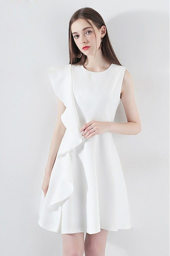 Chi White Asymmetrical Sleeve Party Dress Aline With Ruffles - HTX97011