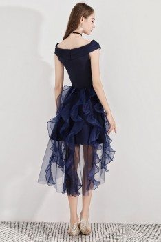 Navy Blue Short Puffy Party Dress High Low With Ruffles - BLS97023