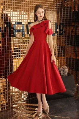 Red Midi Pleated Party Dress For Semi Formal - BLS97048