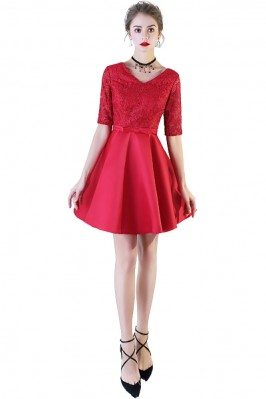 Red Lace Short Party Dress...