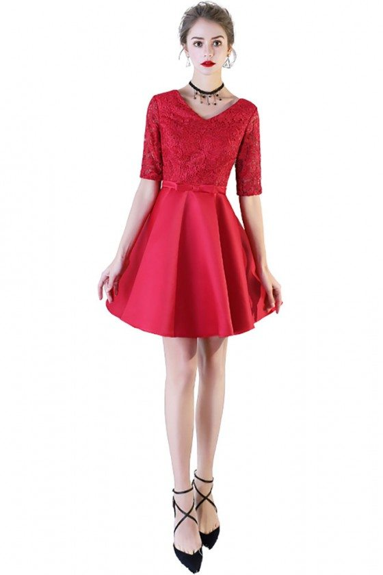 Red Lace Short Party Dress Vneck With Short Sleeves - BLS97004