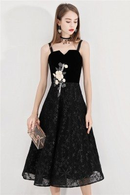 Black Lace Midi Party Dress With Flower Embroidery - BLS97021