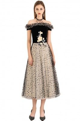 Black Polka Dot Off Shoulder Midi Party Dress - BLS97034