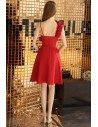Chic Short Aline Little Red Party Dress With Asymmetrical Straps - BLS97047