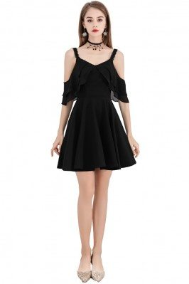 Little Black Chic Short Party Dress With Straps Cold Shoulder - BLS97008
