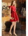 Little Red Chic Short Party Dress With One Sleeve - BLS97050