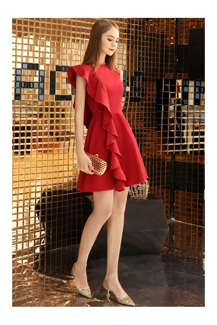 Little Red Chic Short Party Dress With One Sleeve 48 4