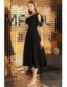 Chic Black Midi Dress Aline For Semi Formal - BLS97040