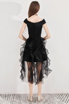 Black Puffy Short Party Dress High Low With Ruffles - BLS97015