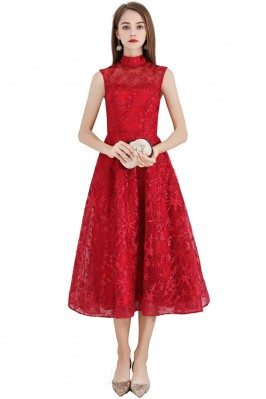 Red Flower Lace Midi Party Dress Sleeveless With High Neck - BLS97024