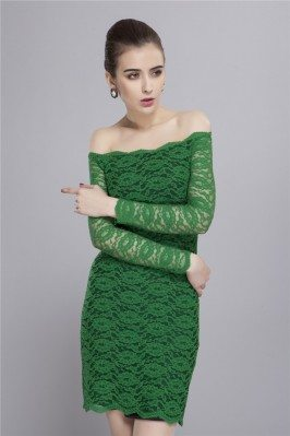 Lace Off The Shoulder Long Sleeve Bodycon Dress