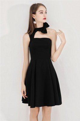 Short Halter Little Black Chic Party Dress Aline - BLS97020