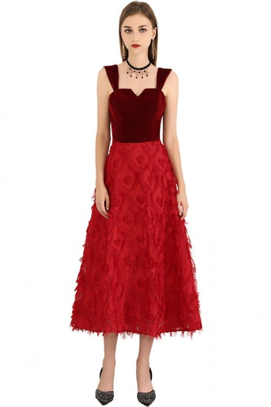 Two Tone Red Colors Midi Length Party Dress With Straps - BLS97033