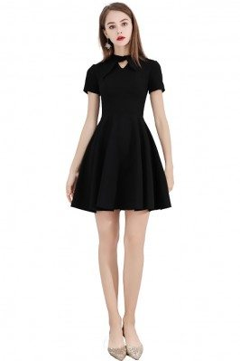 Little Black Short Party Dress With Short Sleeves - BLS97013