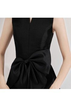 Vintage Chic Black Party Dress Tea Length With High Collar - BLS97011