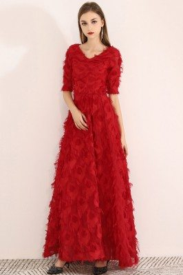 Long Red Special Feather Party Dress Vneck With Sleeves - BLS97032