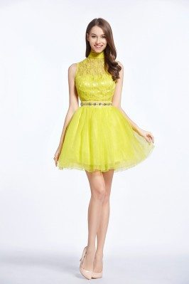 Short Halter Lace Tulle Dress Onsale