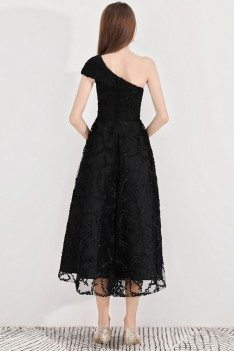 Black Lace Midi Party Dress With Special One Shoulder - BLS97025