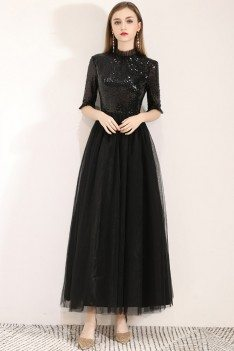 Sequins With Tulle Long Black Party Dress With Half Sleeves - BLS97053