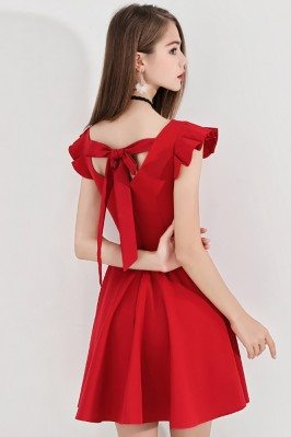 Little Red Flare Hoco Dress...