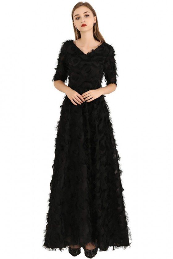 Long Black Special Feather Party Dress Vneck With Sleeves - BLS97031