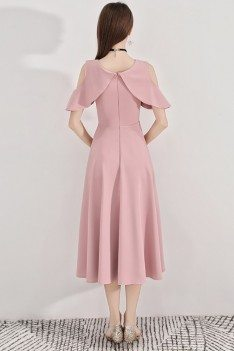 Pink Midi Length Semi Formal Party Dress Aline - BLS97017