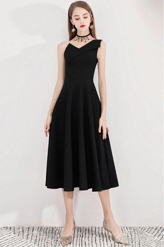 Black Retro One Shoulder Midi Party Dress Simple - BLS97039