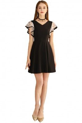 Cute Black Aline Short Dress Vneck With Dotted Sleeves - BLS97041