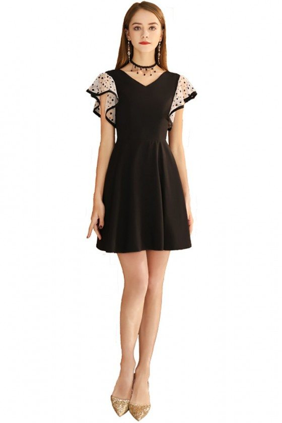 Cute Black Aline Short Dress Vneck With Dotted Sleeves