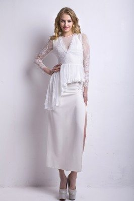 White V-neck Lace 3/4 Sleeve Party Dress