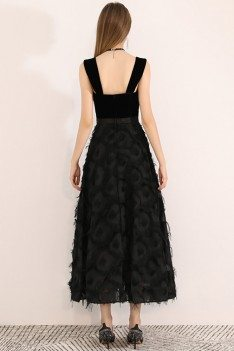 Black Ankle Length Chic Party Dress With Straps - BLS97030