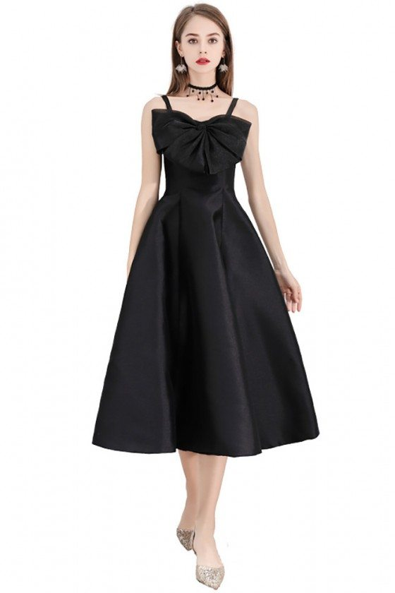 Black Midi Length Semi Party Dress With Big Bow Front - BLS97010