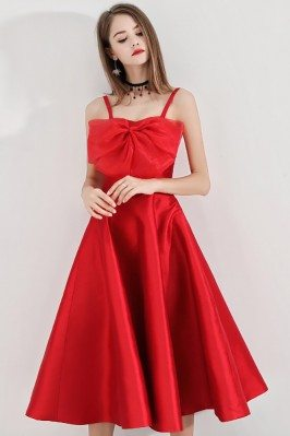 Red Midi Length Party Dress...