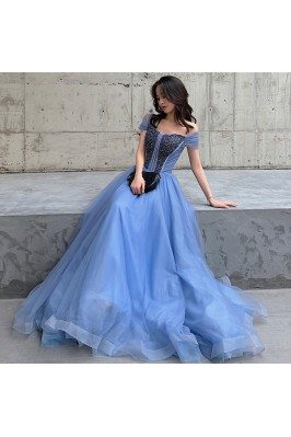Blue Long Tulle Beaded...