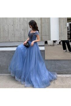 Blue Long Tulle Beaded Elegant Prom Dress With Cap Sleeves - AM79098
