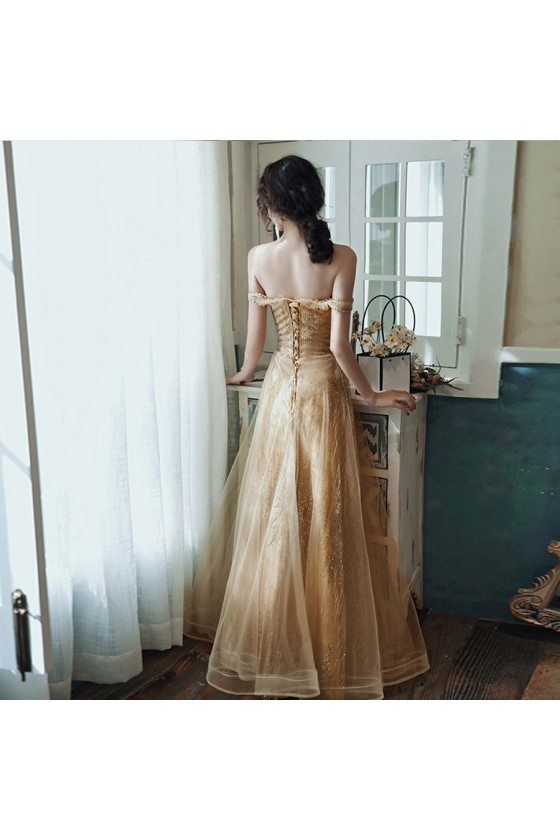 Sparkly Champagne Gold Aline Long Prom Dress For Formal - AM79039