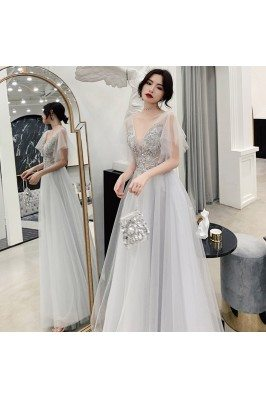 Elegant Grey Tulle Puffy Sleeves Long Prom Dress With Blings - AM79153