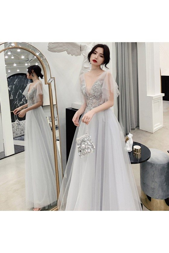 Elegant Grey Tulle Puffy Sleeves Long Prom Dress With Blings