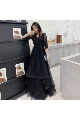 Black Tulle Long Cheap Prom...