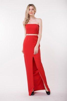 Celebrity Strapless Cut-out Slit Formal Dress