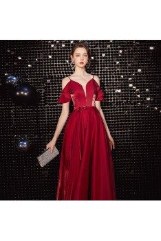 Slim Long Burgundy Prom Party Dress With Flounce Straps - AM79077